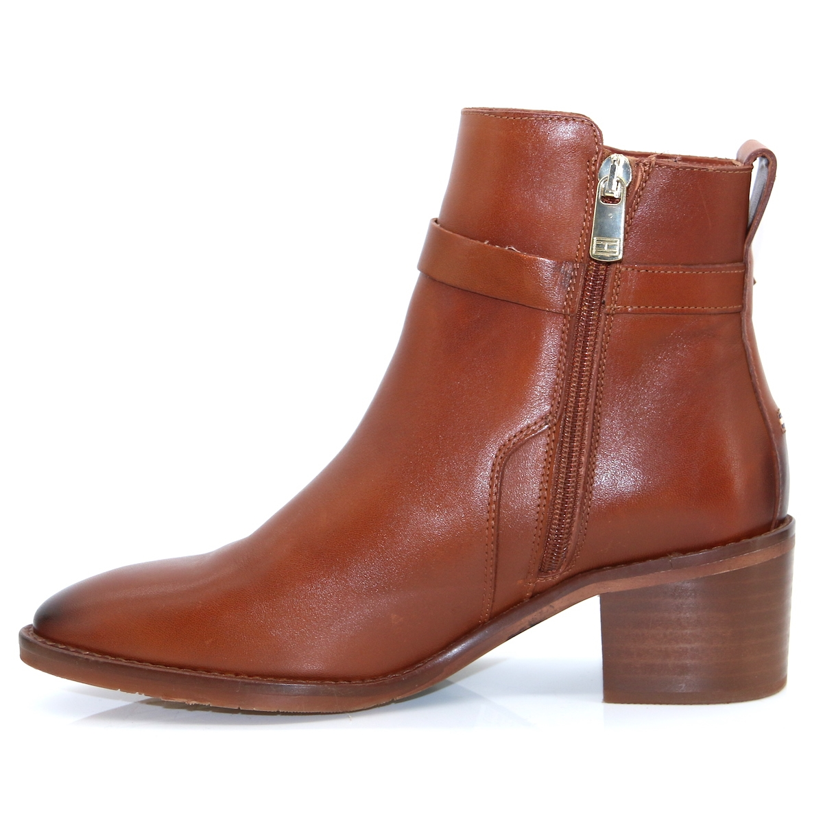 Tommy Hilfiger Brown Hardware Leather Ankle Boots