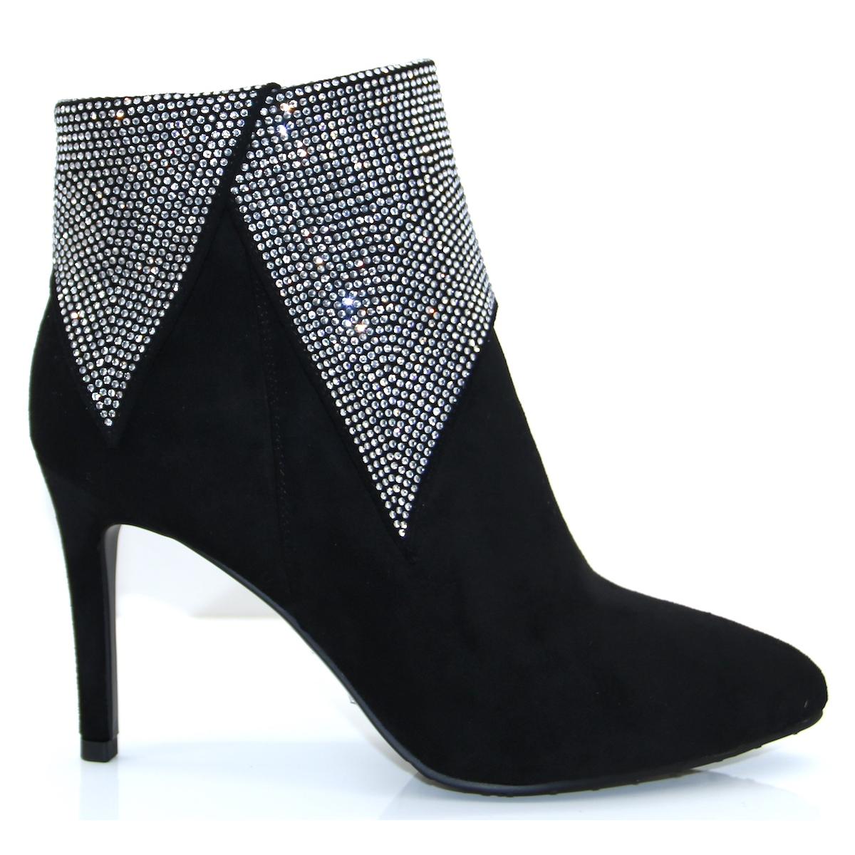 Lunar Black and Diamante Ankle Boots
