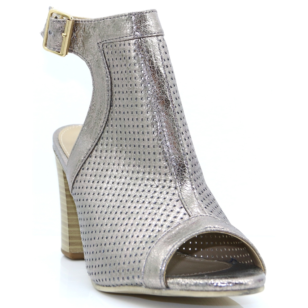 80ST29 - REDZ PEWTER PEEP TOE ANKLE BOOTS