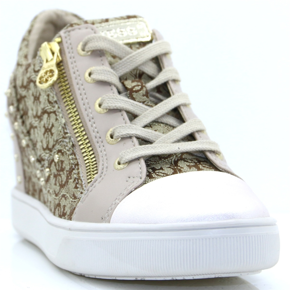 FLNNA1 FAL12 - GUESS BEIGE AND BROWN WEDGE TRAINERS