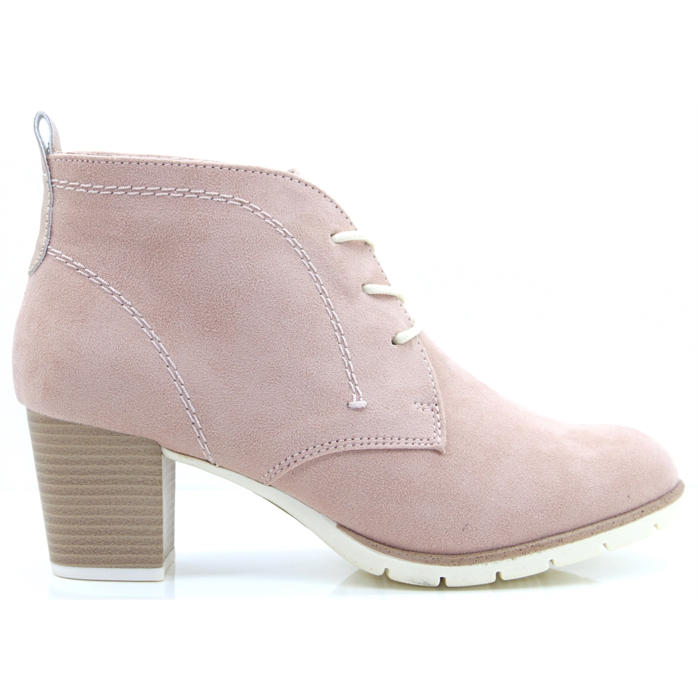25107-32 - MARCO TOZZI PINK LACE UP ANKLE BOOTS