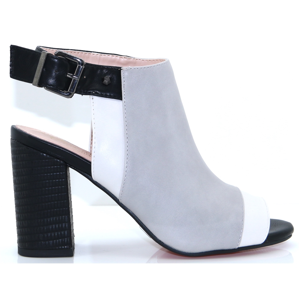 Oxfordshire - KATE APPLEBY GREY MIX PEEP TOE ANKLE BOOTS