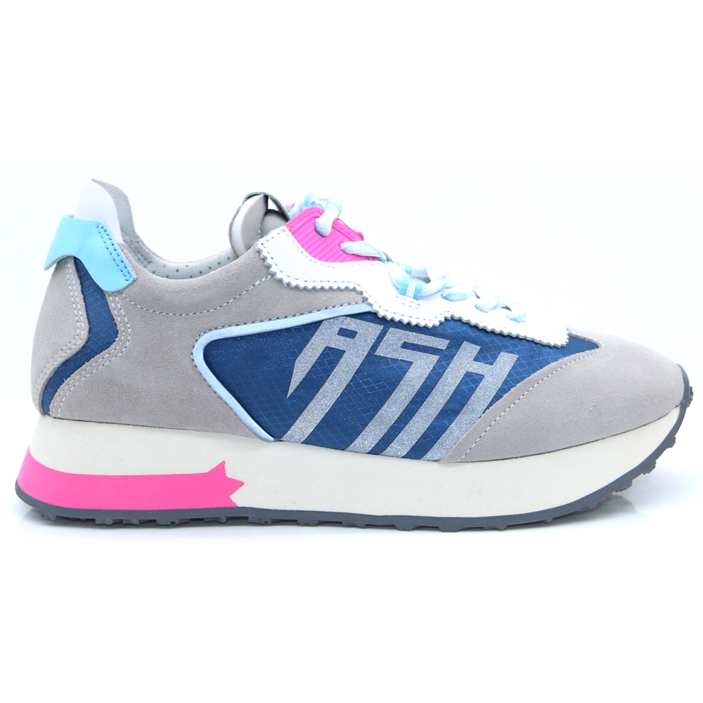 TIGER - Ash Grey White Blue and Pink Trainers