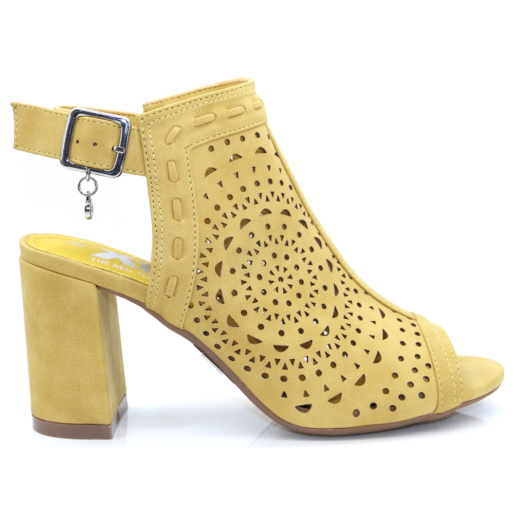 35173 - Xti Yellow Peep Toe Ankle Boots