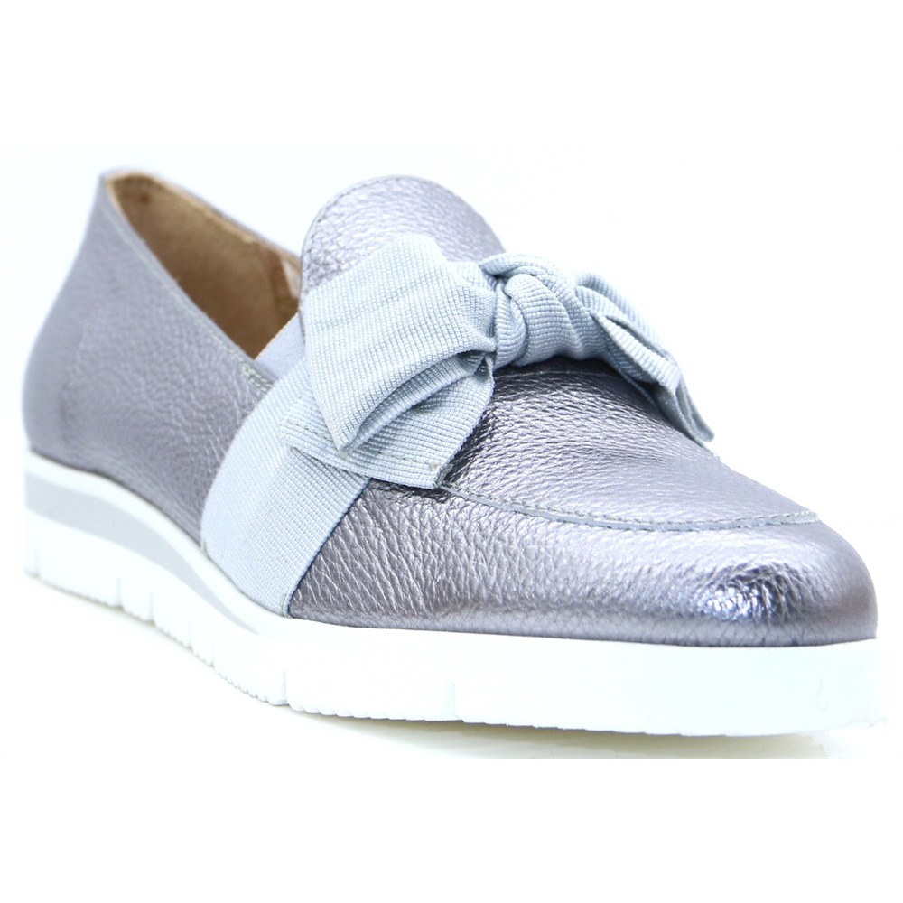 COLUMBUS - CARA STEEL GREY SLIP ON SHOES WITH BOW