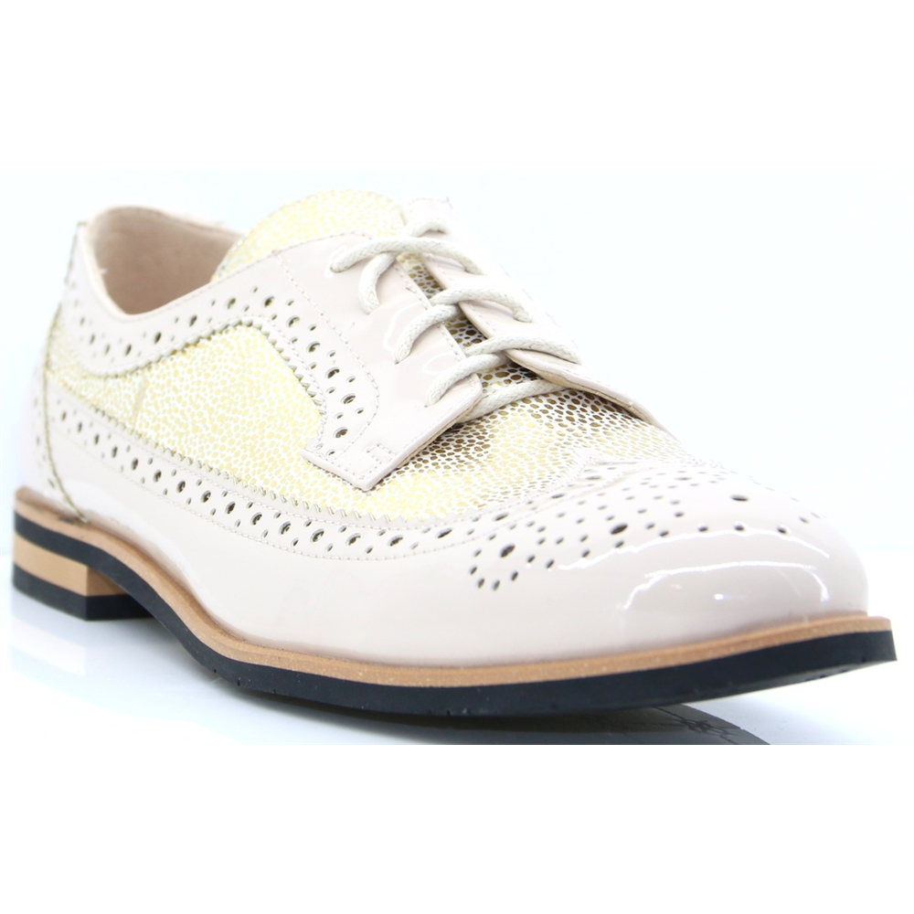 8279 - REDZ BEIGE AND GOLD LACE UP SHOES