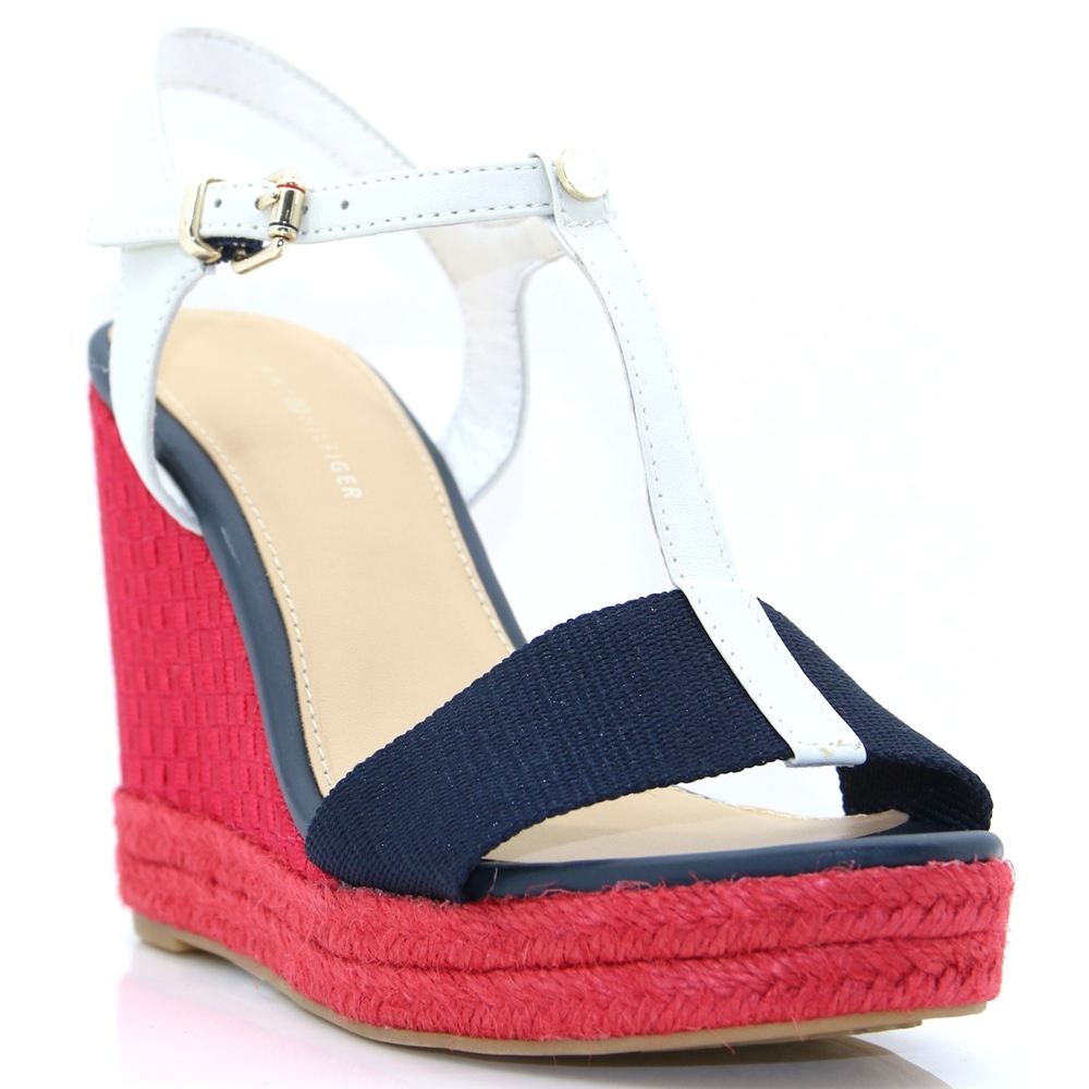 ICONIC ELENA POP COLOUR - TOMMY HILFIGER RED WHITE AND BLUE WEDGES