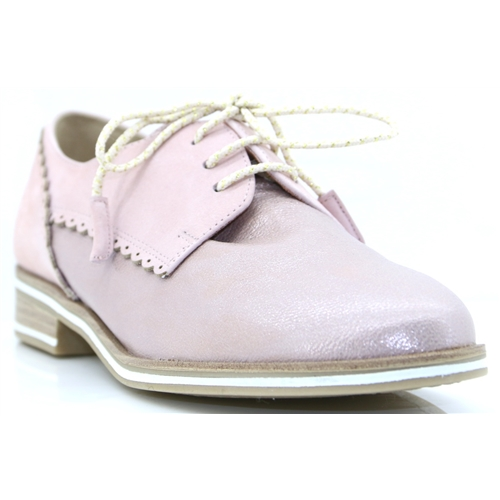 23301-20 - MARCO TOZZI MAUVE METALLIC LACE UP SHOES