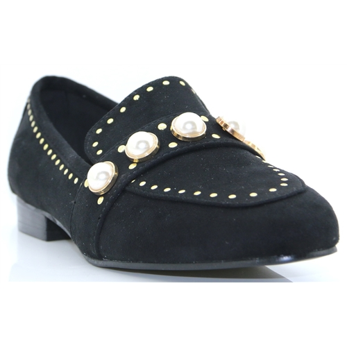 Vardo - ESCAPE BLACK LOAFERS WITH PEARLS