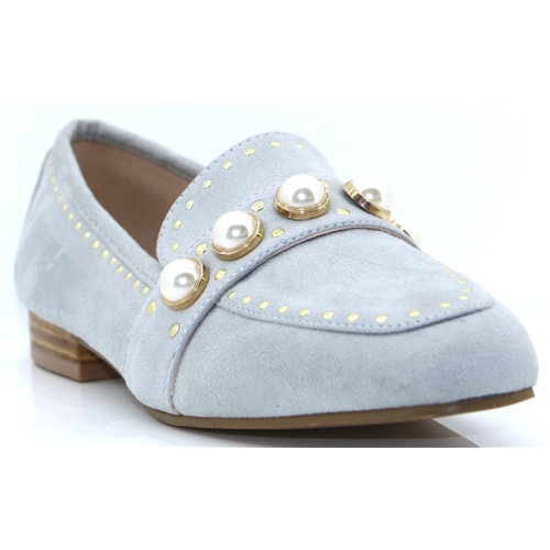 Vardo - ESCAPE GREY MINK LOAFERS WITH PEARLS