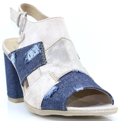 1278-801 - MUSTANG IVORY AND DENIM HEELS