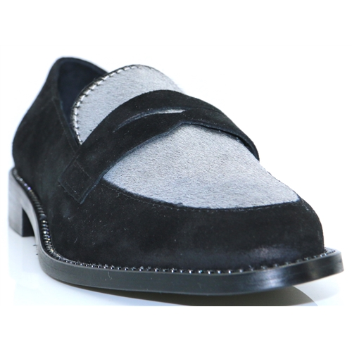 4220 - NICOLA SEXTON BLACK AND SILVER LOAFERS