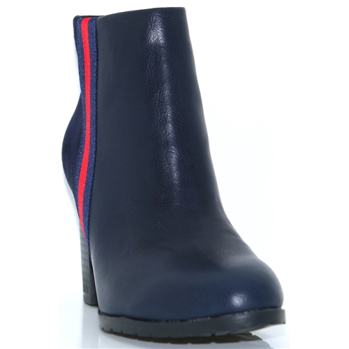 Burnage - KATE APPLEBY NAVY ANKLE BOOTS WITH RED STRIPE