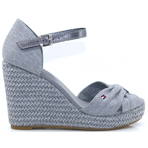 559898814 Iconic Elena Metallic Canvas - Tommy Hilfiger LIGHT GREY WEDGES
