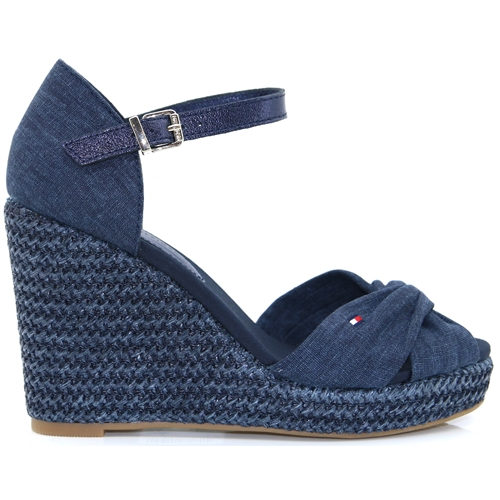 e72dee019 Iconic Elena Metallic Canvas - Tommy Hilfiger MIDNIGHT WEDGES