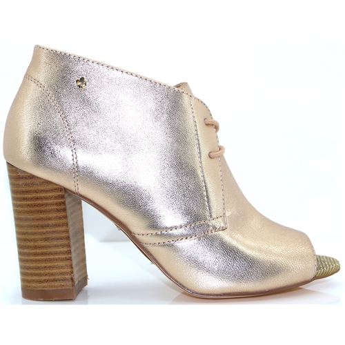 7c03c79dbca0 Julie - BOURBON ROSE GOLD PEEP TOE ANKLE BOOTS