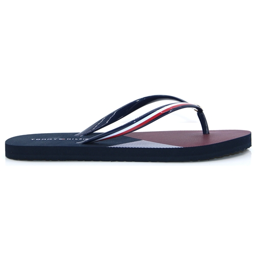 746894c4a Flat Beach Sandal Stripe Print - Tommy Hilfiger RED WHITE AND BLUE FLIP  FLOPS