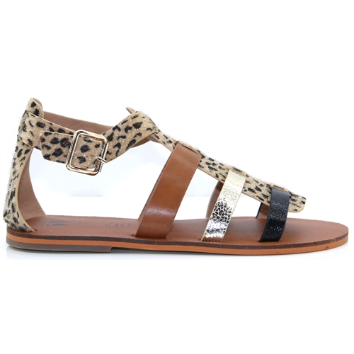 SD1957 - VANESSA WU LEOPARD TAN AND GOLD SANDALS