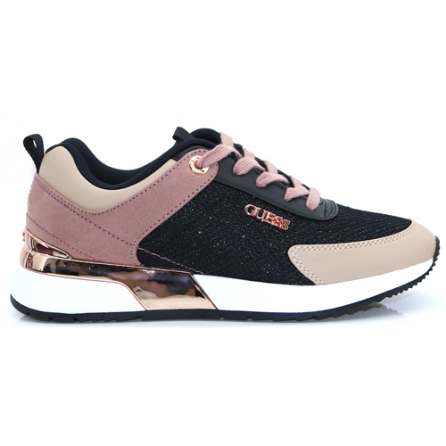 FL7MAR FAM12 - GUESS BLACK AND BLUSH TRAINERS