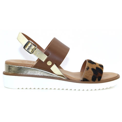 Navasi - MODA IN PELLE TAN AND LEOPARD PRINT SANDALS