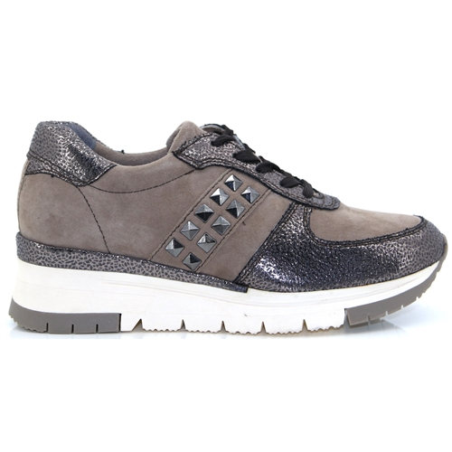 38747662 23720-33 - TAMARIS TAUPE AND PEWTER TRAINERS