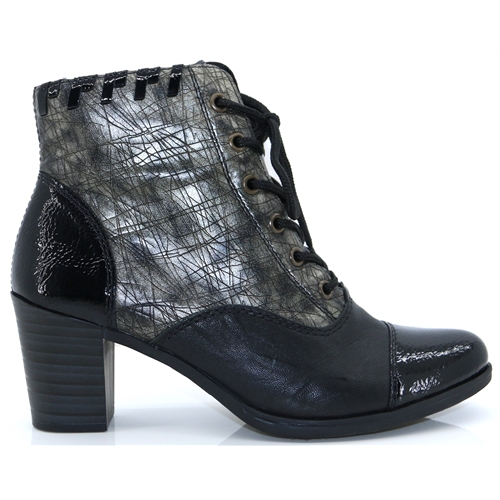 735681d68f825 Y8938-00 - RIEKER BLACK AND PEWTER ANKLE BOOTS