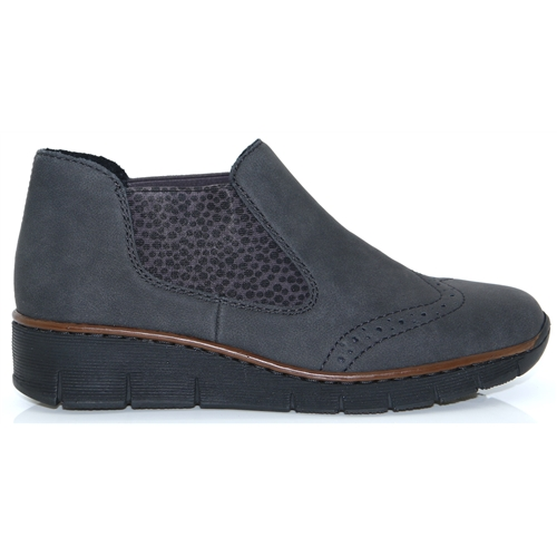 c6b8bf6743ce6 537Z3-45 - RIEKER GREY AND BLACK LOW WEDGE ANKLE BOOTS