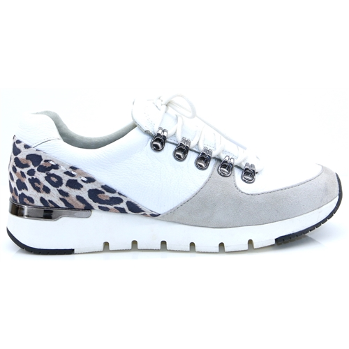 23705-24 - Caprice White and Leopard Print Trainers