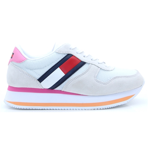 Flatform Runner Colour Sneaker - Tommy Hilfiger White Pink and Orange Trainers