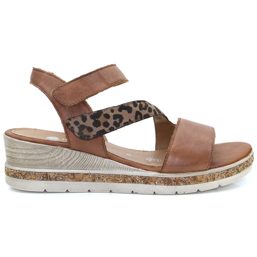 D3054-24 - Remonte Tan and Leopard Sandals