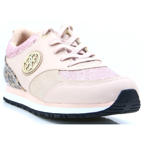 FLREA1 LEM12 - GUESS BLUSH AND LEOPARD PRINT TRAINERS