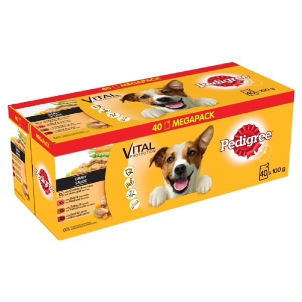 Pedigree Gravy Pouch Complete Meals 40 Pack