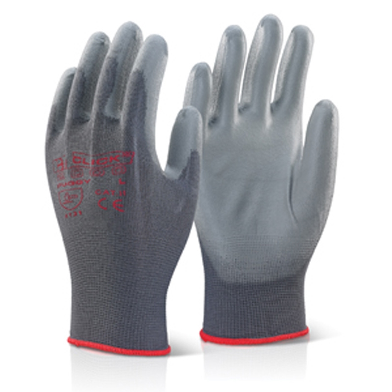 PU COATED GLOVE GREY LARGE, BTPUGGYL