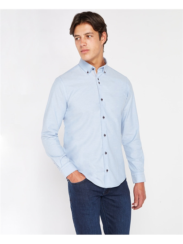 Remus Uomo Blue Tapered Fit Plain Oxford Casual Shirt