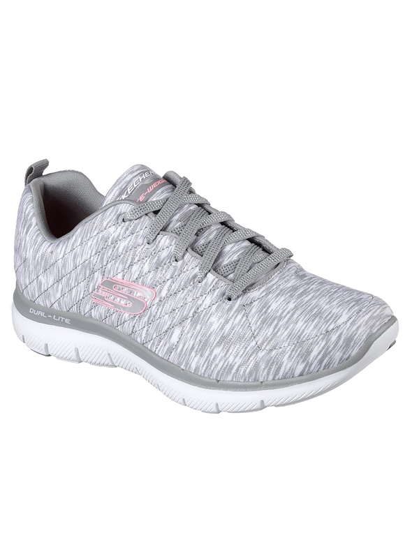 Skechers Ladies Flex Appeal 2.0 - Reflections Grey White Trainer 12908