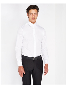 Remus Plain White Tapered Fit Formal Shirt