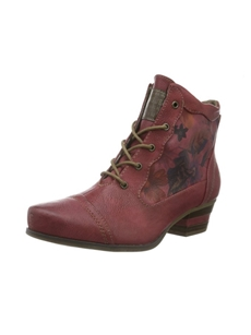 Mustang 1187-509-5 Womens Red Ankle Boot with floral print detail