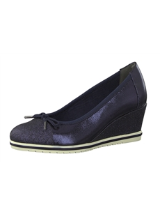 Tamaris Navy Wedge Heeled Pumps 22461