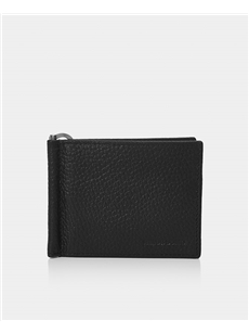 Remus Uomo Black Leather Bi-Fold Wallet With Moneyclip