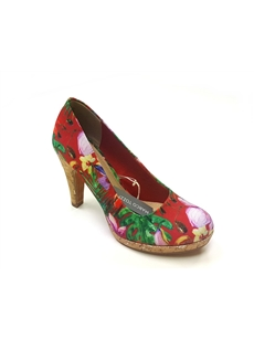 Marco Tozzi Chili Flower print heel with cork finish 22421-28-547