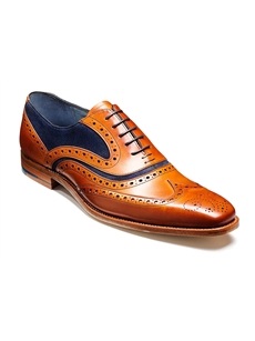 Barker McClean Wingtip Tan with blue suede shoe