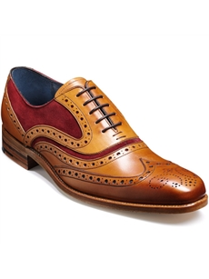 Barker McClean Wingtip Tan with Burgundy Suede Shoe