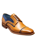 Barker Haig Tan With Blue Suede Derby Shoe