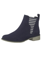 Marco Tozzi Navy Stripe Suede Chelsea Boot
