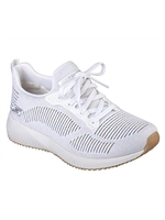 Skechers Ladies Bobs Sport Squad - Multifaceted White Trainer 31366
