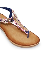 Lunar JLH900 Antigua Toe Post Blue Sandal